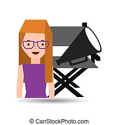 girl cartoon and chair speaker icon cinema graphic vector...