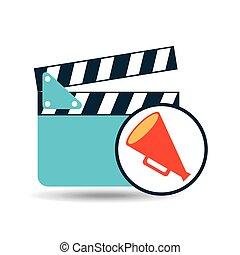 concept cinema clapper and megaphone icon desgin vector...