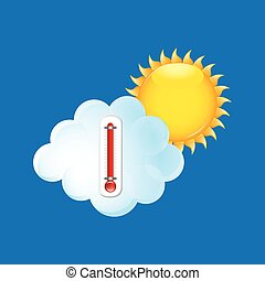 red thermometer icon cloud sun weather meteorology vector...