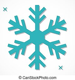 Teal Snowflake - One teal snowflake isolated over white...