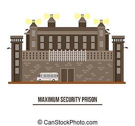 Exterior view on prison building,jail architecture -...