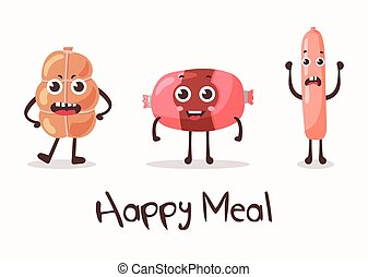 Smiling meat cartoon character. Flank meat roulade and...