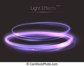 Abstract light effect on transparent background. Shining...