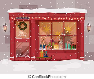 Christmas gift or presents shop, store - Christmas gift or...