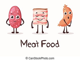 Cartoon meat food characters with smiley faces. Fresh meat...