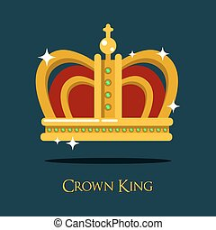 Royal king or queen crown, pope tiara icon - Royal king or...