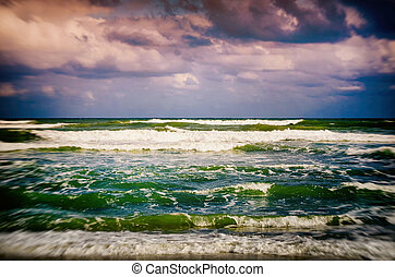 Stormy Sea Background - Photo of Landscape of Dark Stormy...
