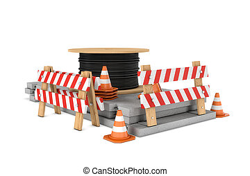 Rendering of traffic cones, fences and cable coil isolated...