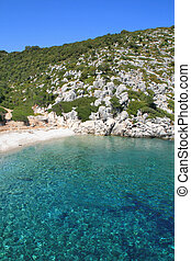 Blue waters of Rahi Beach, Ithaca,  Ionian island, Greece