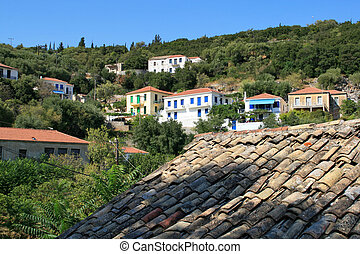 View of Village of Frikes, Ithaca,  Ionian island, Greece