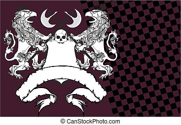 heraldic lion eagle gryphon and skull coat of arms...
