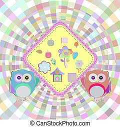 Cartoon empty paper template of an owl,