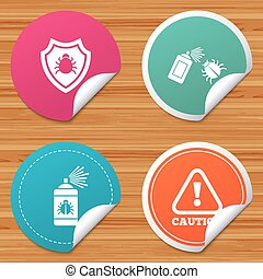 Bug disinfection signs. Caution attention icon. - Round...