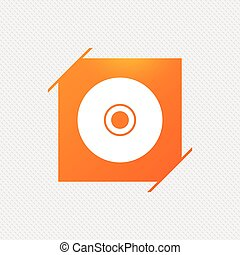 CD or DVD sign icon. Compact disc symbol. Orange square...