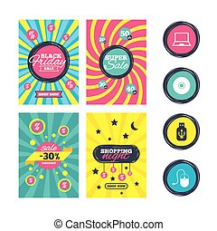 Notebook pc and Usb flash drive stick icons. - Sale website...