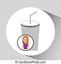 girl cartoon and cup soda icon cinema graphic