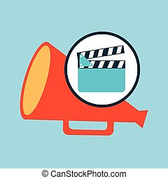 concept cinema clapper and megaphone icon desgin vector...