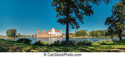 Fr, pintoresco, Belarus, panorámico, Complejo, castillo,...