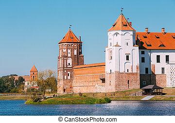 mir, antiguo, Belarus, Complejo, unes, monumento, castillo,...