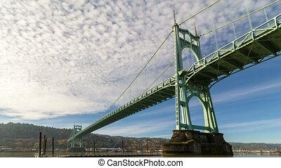 Time lapse of clouds and blue sky over St. Johns bridge in...