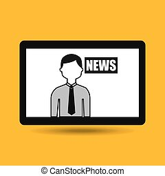 hands holding tablet journalist news vector illustration eps...