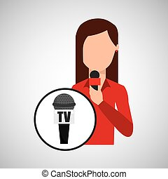 character woman reporter news microphone tv graphic