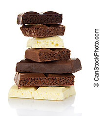 Stack of porous pieces milk and black chocolate isolated. -...