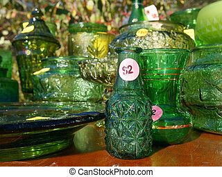 Yard Sale Green Glass Items - A collection of old, vintage...