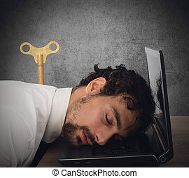 Discharge businessman - Businessman exhausted from overwork...