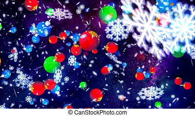Animation of Falling Abstract Colorful Christmas Balls