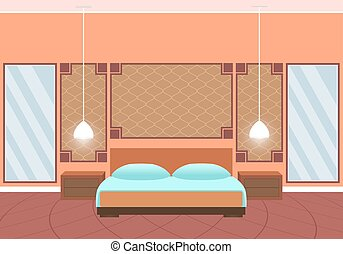 Flat style hotel room interior with furniture and huge...