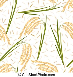 rice seamless pattern - Seamless pattern with rice leaves,...