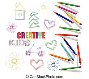creative template for art studio, laboratory,courses for kids. colored pencils and drawings.