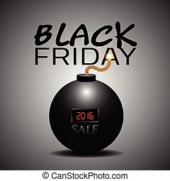 Black friday - Isolated bomb with text, Black friday vector...