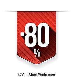 Sale eighty percent off banner red ribon