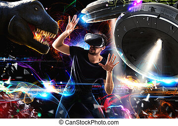 World of videogames - Man with 3D glasses plays with video...