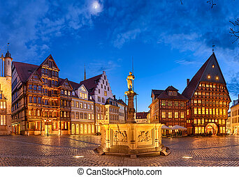 Market square of Hildesheim, Germany - Historic market...