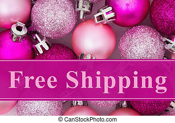 Free Shipping message, Some pale and bright pink sparkle and...