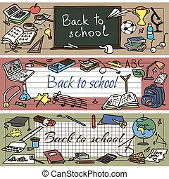 back to school doodle set - Back to school had drawn doodle...