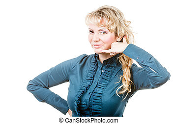 Woman making call gesture