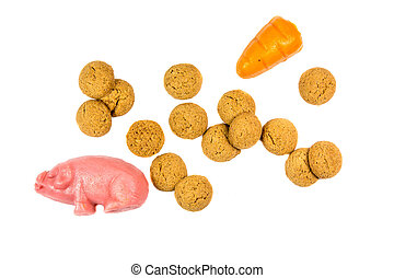 Group of Pepernoten cookies and marzipan - Group of...