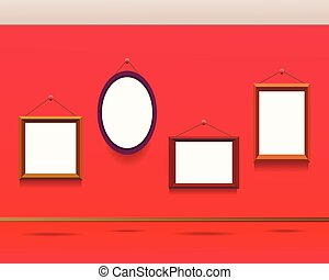frames on the wall. museum, gallery