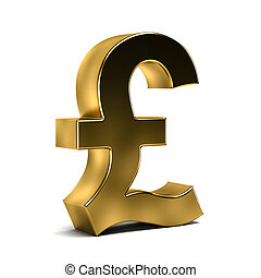3D Golden Pound Currency Symbol