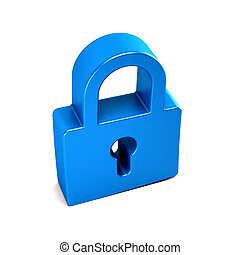 Padlock security device. 3D rendering illustration