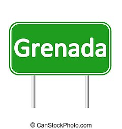 Grenada road sign. - Grenada road sign isolated on white...