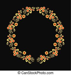 khokhloma floral ornament wreath