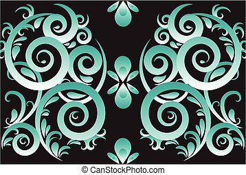 Green abstract swirl vector ornament  background