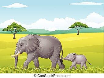 Cartoon funny elephant in the wild