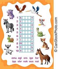 Find the correct part of words - Vector illustration of Find...
