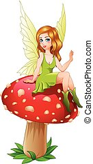 Cartoon fairy sitting on mushroom - Vector illustration of...